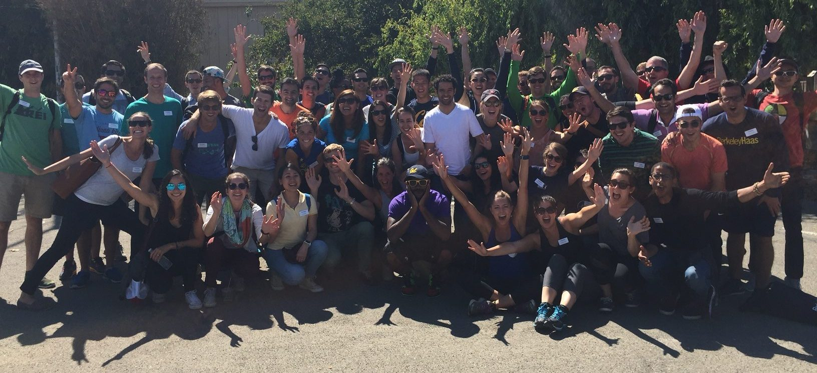 UC Berkeley Haas School of Business students gather after completing several community improvement projects.
